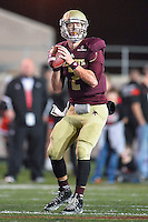 Texas State's quarterback Tyler Jones (2) looks to throws a pass during NCAA Football game, Thursday, November 20, 2014 in San Marcos, Tex. Texas State defeated Arkansas State 45-27. (Mo Khursheed/TFV Media via AP Images)