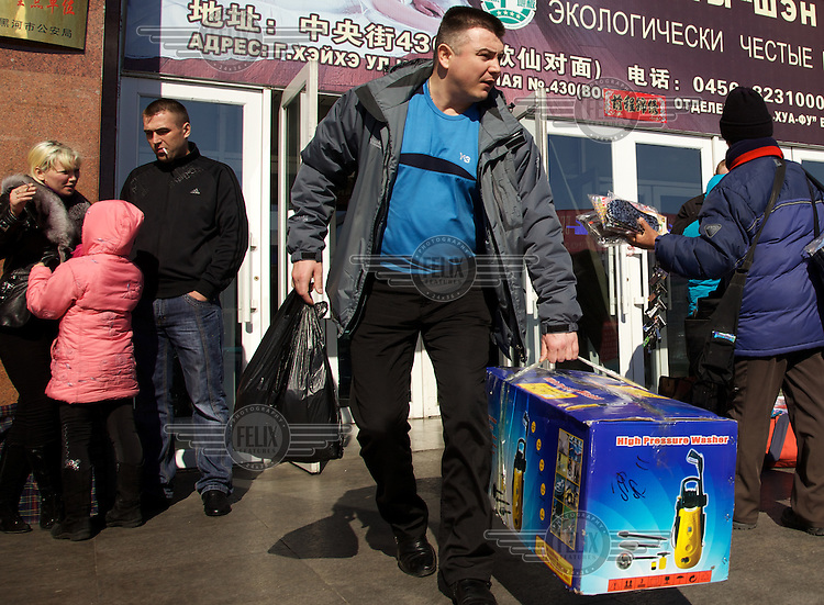 Russians shop in the Chinese city of Heihi just across the Russian-Chinese border.