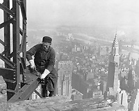 By Lewis Hine, 1930.<br /> Old-timer, -- keeping up with the boys. Many structural workers are above middle-age. Empire State Building.<br /> New York City, New York.<br /> 1998 print.