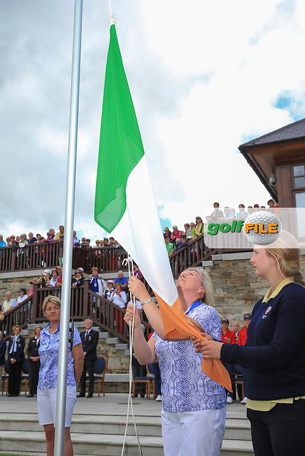 GB&amp;I Captain Elaine Fayquharson-Black ropes down the Irish flag during the Closing Ceremony at the 2016 Curtis Cup, played at Dun Laoghaire GC, Enniskerry, Co Wicklow, Ireland. 12/06/2016. Picture: David Lloyd | Golffile. <br /> <br /> All photo usage must display a mandatory copyright credit to &copy; Golffile | David Lloyd.
