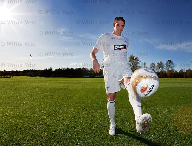 Kyle Lafferty with Rangers new third strip today at Murray Park