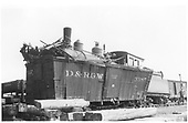 Engine has telescoped box car 3385.<br /> D&amp;RGW  Lumberton, NM