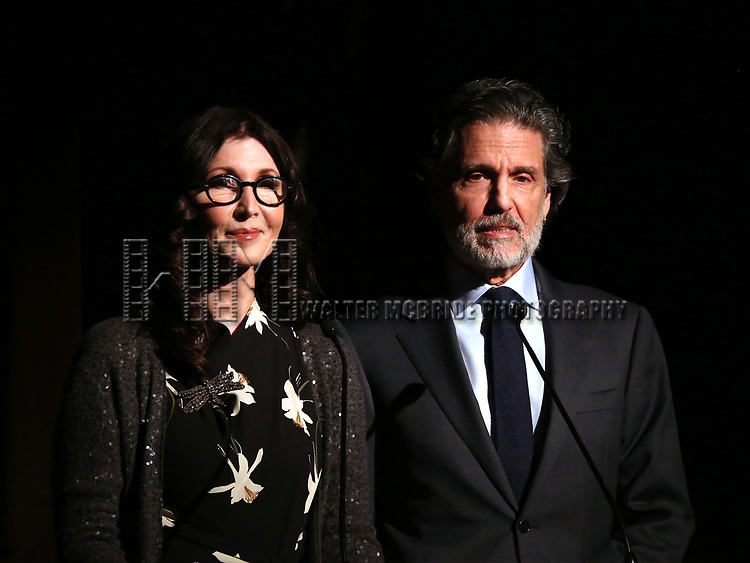 Joanna Gleason and Chris Sarandon on stage at the Vineyard Theatre 2017 Gala at the Edison Ballroom on March 14, 2017 in New York City.