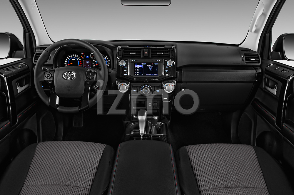 Stock photo of straight dashboard view of 2018 Toyota 4Runner Off-Road 5 Door SUV