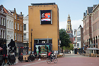 15-sept.-2013,Netherlands, Groningen,  Martini Plaza, Tennis, DavisCup Netherlands-Austria, news ticker in town <br /> Photo: Henk Koster