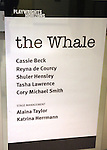Theatre Marquee:  for 'The Whale' starring Cassie Beck (Liz), Reyna de Courcy (Ellie),  Shuler Hensley (Charlie), Tasha Lawrence (Mary) and Cory Michael Smith (Elder Thomas); at Playwrights Horizons' Peter Jay Sharpe Theater in New York City on 11/05/2012