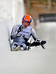 7 February 2009: William Lorentzen, sliding for Norway, shows his frustration after falling off his sled during the first run in the Men's Competition at the 41st FIL Luge World Championships, in Lake Placid, New York, USA. .  .Mandatory Photo Credit: Ed Wolfstein Photo