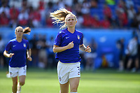 DECINES-CHARPIEU, FRANCE - JULY 07: Samantha Mewis #3 warming up prior to the 2019 FIFA Women's World Cup France Final match between Netherlands and the United States at Groupama Stadium on July 07, 2019 in Decines-Charpieu, France.
