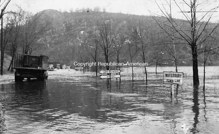 Flood waters in Waterbury, January 1938.