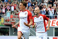 EMMEN - Voetbal, FC Emmen - AZ, De  Oude Meerdijk, Eredivisie, seizoen 2018-2019, 19-08-2018,  FC Emmen speler Nick Bakker juicht na de 1-1
