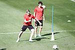 Atletico de Madrid's Fernando Torres (l) and Tiago Cardoso during training session. April 26,2016.(ALTERPHOTOS/Acero)