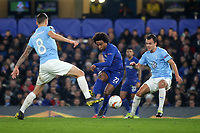 Willian of Chelsea passers the ball upfield during Chelsea vs Malmo FF, UEFA Europa League Football at Stamford Bridge on 21st February 2019