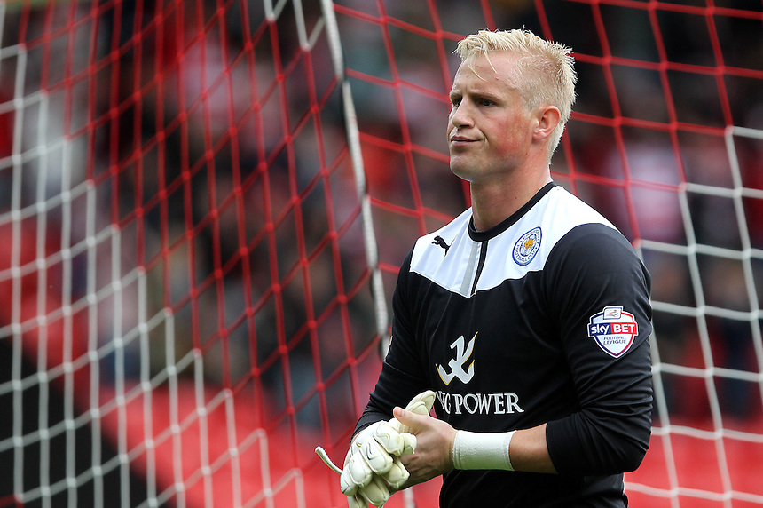 Leicester City's Kasper Schmeichel looks despondant as he leaves the pitch<br /> <br /> Photo by Mick Walker/CameraSport<br /> <br /> Football - The Football League Sky Bet Championship - Doncaster Rovers v Leicester City -  Saturday 5th October 2013 - Keepmoat Stadium - Doncaster<br /> <br /> &copy; CameraSport - 43 Linden Ave. Countesthorpe. Leicester. England. LE8 5PG - Tel: +44 (0) 116 277 4147 - admin@camerasport.com - www.camerasport.com