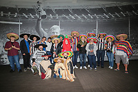 Grimsby Town fans with Sombrero hats ahead of the Sky Bet League 2 match between Barnet and Grimsby Town at The Hive, London, England on 29 April 2017. Photo by David Horn.