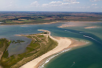 Aerial of Blakeney Point National Nature reserve, National Trust, summer, Norfolk UK