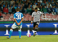Juventus' Mario Lemina controls the ball during the  italian serie a soccer match against   Juventus ,    at  the San  Paolo   stadium in Naples  Italy , September 26 , 2015