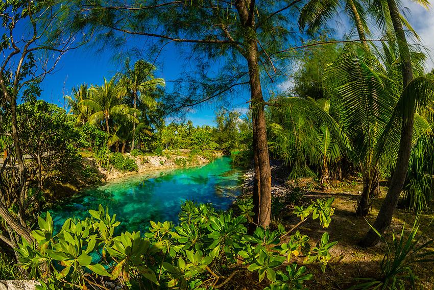 A lagoon at the Four Seasons Resort Bora Bora, French Polynesia.