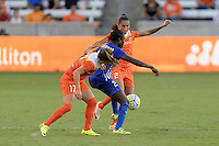 Houston, TX - Sunday Sept. 11, 2016: Andressa Machry, Eunice Beckmann during a regular season National Women's Soccer League (NWSL) match between the Houston Dash and the Boston Breakers at BBVA Compass Stadium.
