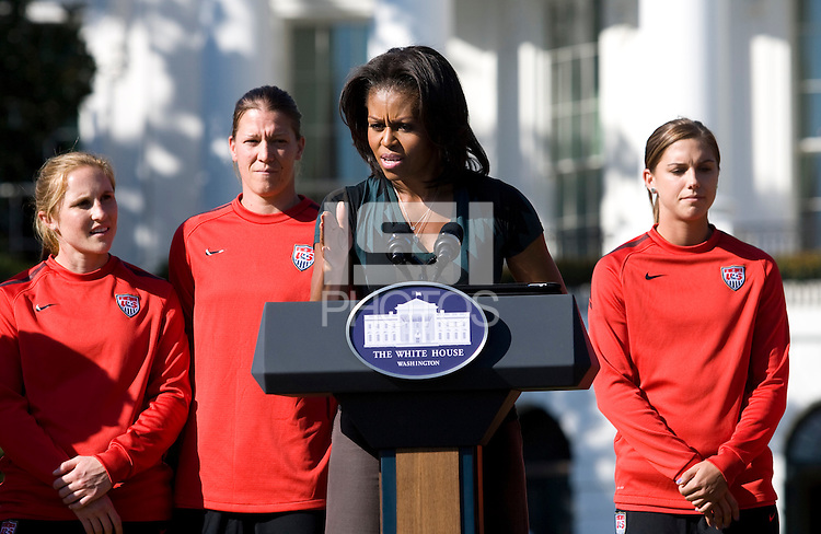 Michelle Obama speaks during a Lets Move! soccer clinic held on the South Lawn of the White House.  Let's Move! was started by Mrs. Obama as a way to promote a healthier lifestyle in children across the country.