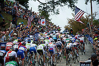 peloton up the 23rd street cobbles<br /> <br /> Elite Women Road Race<br /> UCI Road World Championships Richmond 2015 / USA