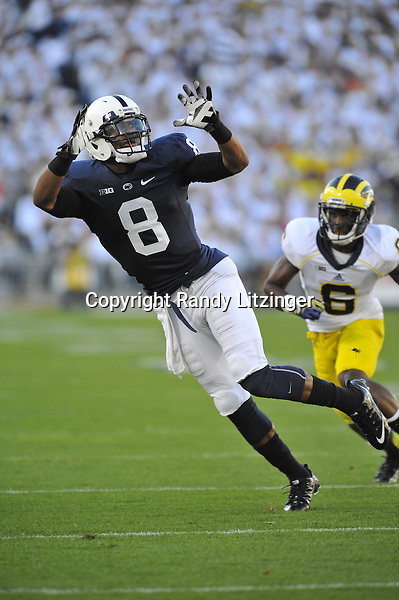 12 October 2013:  Penn State WR Allen Robinson (8) catches an 'out'. The Penn State Nittany Lions defeated the Michigan Wolverines 43-40 in 4OTs at Beaver Stadium in State College, PA.