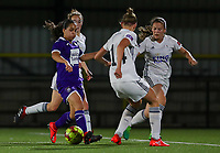 20190920 – LEUVEN, BELGIUM : OHL's  defenders are pictured trying to stop RSC Anderlecht's Sakina Ouzraoui Diki during a women soccer game between Dames Oud Heverlee Leuven A and RSC Anderlecht Ladies on the fourth matchday of the Belgian Superleague season 2019-2020 , the Belgian women's football  top division , friday 20 th September 2019 at the Stadion Oud-Heverlee Korbeekdam in Oud Heverlee  , Belgium  .  PHOTO SPORTPIX.BE   SEVIL OKTEM