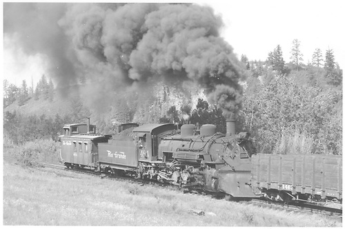 3/4 view engineer side view of K-36 #484 pushing K-37 #498 up Cumbres Pass.<br /> D&amp;RGW  climbing Cumbres, CO  Taken by Bender, Henry E. Jr. - 6/2/1963