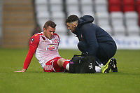 Injury concern for Dean Parrett of Stevenage during Stevenage vs Peterborough United, Emirates FA Cup Football at the Lamex Stadium on 9th November 2019