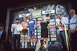 Race favourite Anna Van Der Breggen (NED) Boels Dolmans Cycling Team wins her 4th consecutive victory at La Fleche Wallonne Femmes 2018, pictured with elite mens race winner Julian Alaphilippe (FRA) Quick-Step Floors, running 118.5km from Huy to Huy, Belgium. 18/04/2018.<br /> Picture: ASO/Thomas Maheux | Cyclefile.<br /> <br /> All photos usage must carry mandatory copyright credit (&copy; Cyclefile | ASO/Thomas Maheux)
