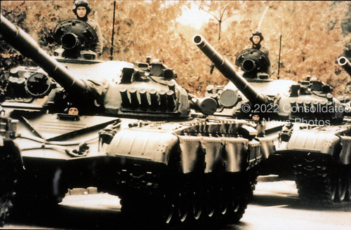 United States Department of Defense released its 1985 assessment of Soviet Military Power at the Pentagon in Washington, DC on April 2, 1985.  The release stated &quot;The 50 tank divisions of the USSR's ground forces include growing numbersof modern main battle tanks such as the T-72, seen here, the T-64, and the T-80.&quot;<br /> Credit: Department of Defense via CNP