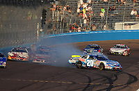 Nov. 8, 2008; Avondale, AZ, USA; NASCAR Nationwide Series driver Joey Logano crashes during the Hefty Odor Block 200 at Phoenix International Raceway. Mandatory Credit: Mark J. Rebilas-