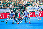 Krefeld, Germany, May 19: During the Final4 Gold Medal fieldhockey match between Uhlenhorst Muelheim and Mannheimer HC on May 19, 2019 at Gerd-Wellen Hockeyanlage in Krefeld, Germany. (worldsportpics Copyright Dirk Markgraf) *** Guido Barreiros #26 of Mannheimer HC, Benedikt Fuerk #12 of Uhlenhorst Muelheim, Mario Schachner #18 of Mannheimer HC