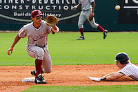 HOUSTON, TEXAS - Feb. 19, 2011: Kenny Diekroeger of Stanford prepares to tag a Rice runner during a game at Rice. Rice defeated Stanford 7-1.