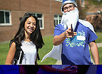 WATERTOWN, CT, 31 August, 2017 - 083117LW05 - Freshman Caryne Liseo hangs out with junior TJ Charkowsky at Watertown High School Thursday during freshmen orientation.<br /> Laraine Weschler Republican-American