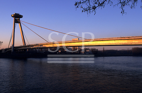 Bratislava, Slovakia. Bridge over the Danube at sunset.