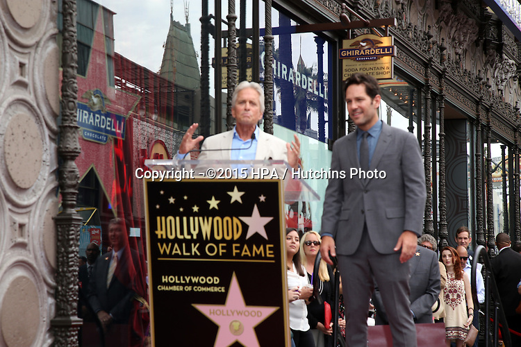 vLOS ANGELES - JUL 1:  Michael Douglas, Paul Rudd at the Paul Rudd Hollywood Walk of Fame Star Ceremony at the El Capitan Theater Sidewalk on July 1, 2015 in Los Angeles, CA