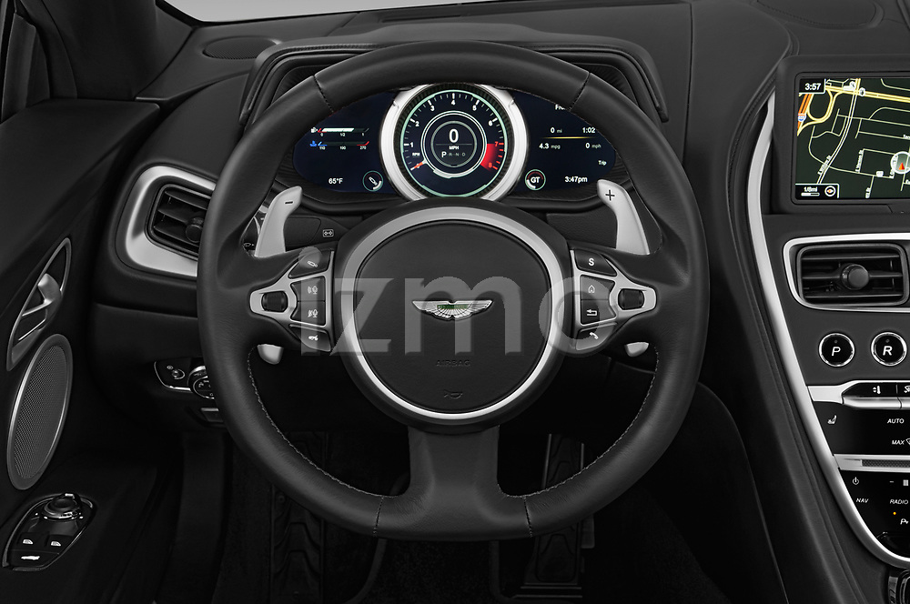 Car pictures of steering wheel view of a 2018 Aston Martin DB11-Volante - 2 Door Convertible Steering Wheel