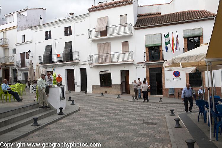 People in plaza village of Aroche, Sierra de Aracena, Huelva province, Spain