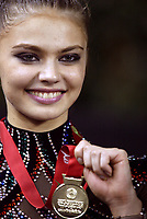 Budapest, Hungary, September 27, 2003 (UPI) -- Rhythmic gymnastic star ALINA KABAEVA of Russia wins Gold medal in All-Around at 2003 Rhythmic Gymnastics World Championships.