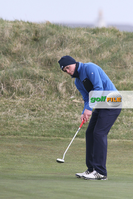 James Sugrue (Mallow) on the 2nd during the Leinster Youths Amateur Open Championship in the European Club, Brittas Bay, Co.Wicklow. 27/3/13..(Photo Jenny Matthews/www.golffile.ie)
