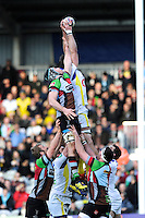 Nathan Hines of ASM Clermont Auvergne outjumps Nick Kennedy of Harlequins during the Heineken Cup Round 5 match between Harlequins and ASM Clermont Auvergne at the Twickenham Stoop on Saturday 11th January 2014 (Photo by Rob Munro)