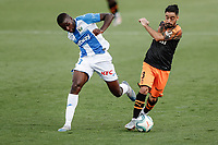 12th July 2020; Estadio Municipal de Butarque, Madrid, Spain; La Liga Football, Club Deportivo Leganes versus Valencia; Eliaquim Mangala (Valencia CF) turns away from the challenge from Ibrahim Amadou of Leganes