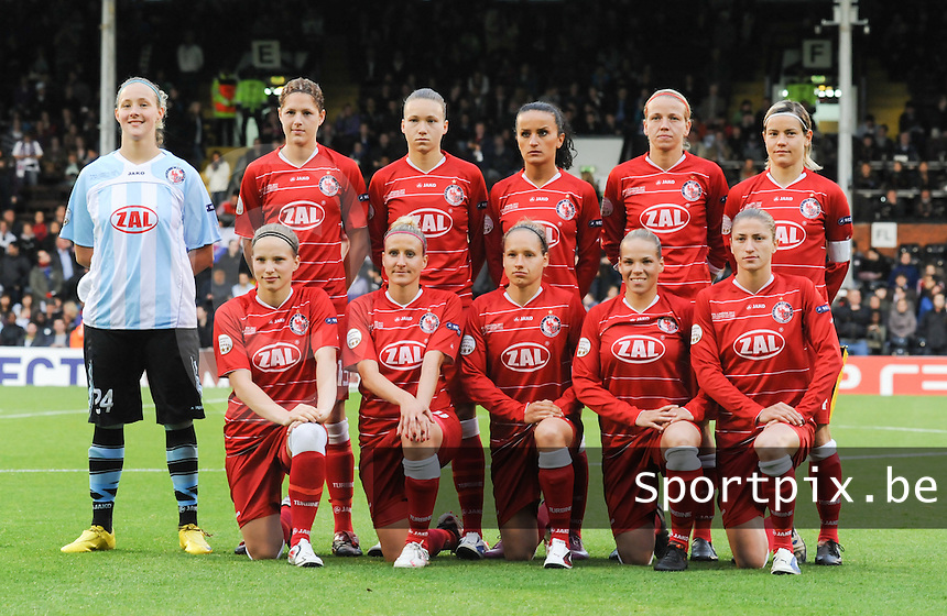 Uefa Women 's Champions League Final 2011 at Craven Cottage Fulham - London : Olympique Lyon - Turbine Potsdam :.GK .24 .Germany Anna Felicitas Sarholz.DF .4 .Germany Babett Peter.DF .8 .Germany Josephine Henning.DF .15 .Germany Inka Wesely.DF .20 .Germany Bianca Schmidt.MF .7 .Germany Isabel Kerschowski.MF .10 .Germany Fatmire Bajramaj.MF .14 .Germany Jennifer Zietz (c).MF .16 .Germany Viola Odebrecht.FW .21 .Germany Tabea Kemme.FW .31 .Germany Anja Mittag.foto DAVID CATRY / JOKE VUYLSTEKE / Vrouwenteam.be.