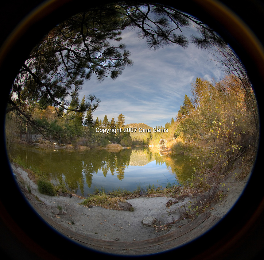 Cloud streaks over Lake Fulmor as viewed through a fisheye lens