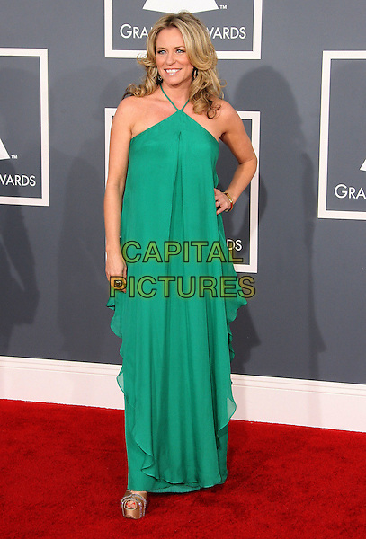 Deana Carter.The 54th Annual GRAMMY Awards held at the Staples Center, Los Angeles, California, USA..February 12th, 2012.full length green sleeveless dress hand on hip.CAP/ADM.©AdMedia/Capital Pictures.