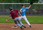 TORRINGTON,  CT-072419JS32--Michigan Bulls' Camden Smith (9) makes the catch to get South Troy's Dalton Maxon (21) out on a force play at second base during their Mickey Mantle World Series game Wednesday at Fuessenich Park in Torrington. <br />  Jim Shannon Republican American