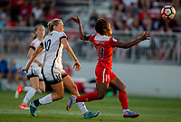 Boyds, MD. - Saturday, June 24 2017:  Allie Long, Francisca Ordega during a regular season National Women's Soccer League (NWSL) match between the Washington Spirit and the Portland Thorns FC at Maureen Hendricks Field, Maryland SoccerPlex.<br />  The Washington Spirit defeated the Portland Thorns FC 1-0.