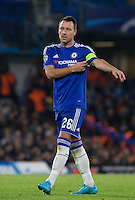 John Terry of Chelsea adjusts his captains armband during the UEFA Champions League Group G match between Chelsea and Dynamo Kyiv at Stamford Bridge, London, England on 4 November 2015. Photo by Andy Rowland.