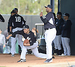 (L-R) Hiroki Kuroda, Masahiro Tanaka, CC Sabathia (Yankees),<br /> FEBRUARY 15, 2014 - MLB :<br /> Hiroki Kuroda, Masahiro Tanaka and CC Sabathia of the New York Yankees practice pitching in the bullpen during the New York Yankees spring training camp in Tampa, Florida, United States. (Photo by AFLO)