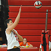 Floral Park No. 7 Nick Felicetti spikes during a Nassau County varsity boys' volleyball match against Farmingdale at Floral Park High School on Thursday, September 24, 2015. He tallied 16 kills in Floral Park's 23-25, 25-19, 25-15, 25-12 win.<br /> <br /> James Escher